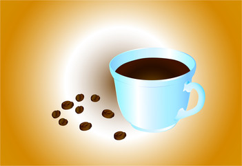 """A cup of coffee with scattered coffee beans, against the background of """"coffee with milk.""""Vector illustration."""