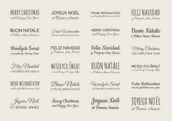 Christmas wishes in different languages. Collection of greetings. Vector.