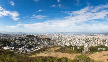 View of Downtown San Francisco from Twin peaks, California, USA