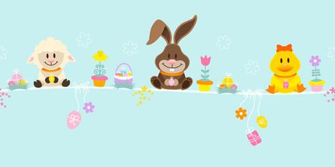 Slim Easter Card Bunny, Duck & Sheep Retro Pastel