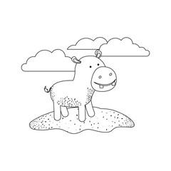 hippopotamus cartoon in outdoor scene with clouds in monochrome silhouette vector illustration