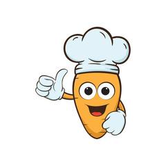 carrot cheff thumb up cartoon illustration