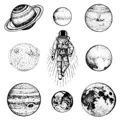 astronaut spaceman. planets in solar system. astronomical galaxy space. cosmonaut explore adventure. engraved hand drawn in old sketch. moon and the sun and earth, mars and venus, jupiter or saturn.