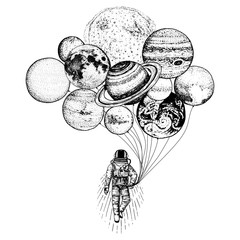 astronaut spaceman. planets in solar system. astronomical galaxy space. cosmonaut explore adventure. engraved hand drawn in old sketch. moon and the sun and earth, mars and venus, balloons.