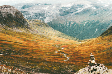 Scandinavian Mountains Landscape Travel scenery autumn colors nordic nature Wall mural