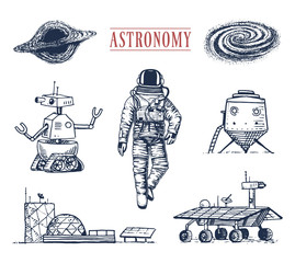 astronaut spaceman. planets in solar system. astronomical galaxy. cosmonaut explore adventure. engraved hand drawn in old sketch, vintage style. space shuttle, robot and mars, lunar rover