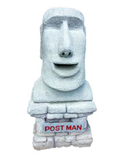 Model moai easter island made of mailbox isolated on white background with clipping path