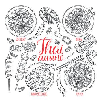 set of thai cuisine