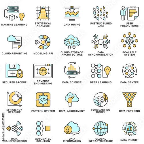 Modern Contour Icons Database Processing Methods Of Data Data
