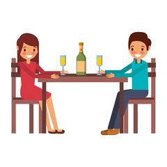 couple parents sitting with vwine bottle glass vector illustration