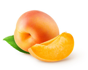 Whole fresh apricot fruit and piece with leaf isolated on white background with clipping path