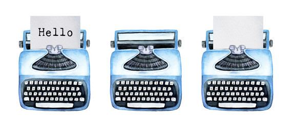 """Template of vintage typewriters. Collection of three: with typed word """"Hello"""", empty one without paper and with clear paper sheet inside. Hand drawn watercolor illustration isolated, white background."""