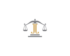 Scale of Justice and Letter J Logo Icon 3