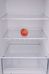 One apple in open empty refrigerator.