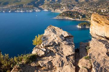France, Cassis et les Calanques vue depuis le sommet de la Route des Crètes et du Cap Canaille