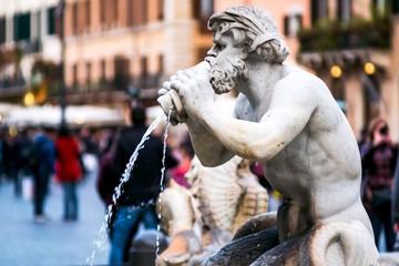 Fontana del Moro in Piazza Navona, Rome. Italy