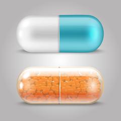 Realistic pills vector design - drugs capsules