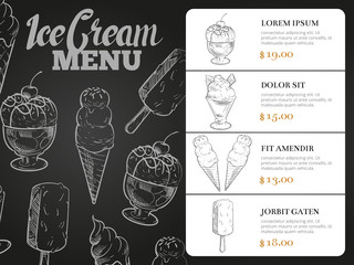 Ice cream menu with prices - desserts blackboard menu card