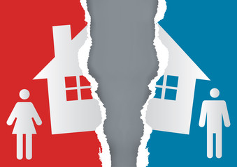 Division of property at divorce. A divorced couple and ripped paper with the symbol of the house. Vector available.