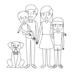 cute family dad mom little son and daughter their dog vector illustration outline