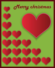 Christmas  heart vector background. Christmas card or invitation.
