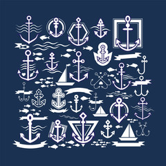 Set of Anchors Symbols on White Background. Set of anchors vector. Collection of anchors, ships, waves and fish. Anchor logo, logo harpoon, boats, etc
