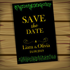 stripes of leaves save the date golden text black background