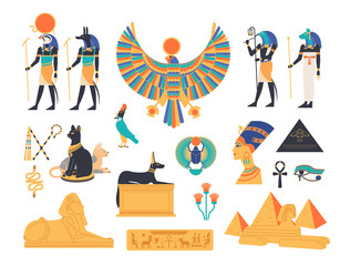 Ancient Egypt collection - gods, deities and mythological creatures from Egyptian mythology and religion, sacred animals, symbols, architecture and sculpture. Colored flat cartoon vector illustration.