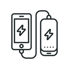 Power Bank Battery Phone Charger Minimalistic Flat Line Outline Stroke Icon Pictogram Symbol