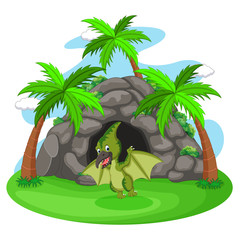 Dinosaur standing in front of a cave illustration