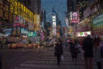 Time square. Image composed entirely of words.