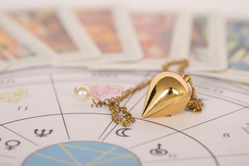 Pendel mit Horoskop und Karten - Esoterik, Wahrsagen, Lebensberatung