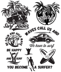 set of vector monochrome illustrations with inscriptions on the theme of surfing