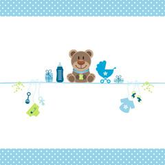 Brown Teddy & Boy Baby Symbols Dots Border