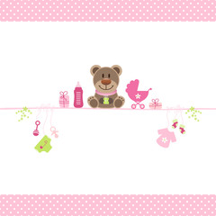 Brown Teddy & Girl Baby Symbols Dots Border