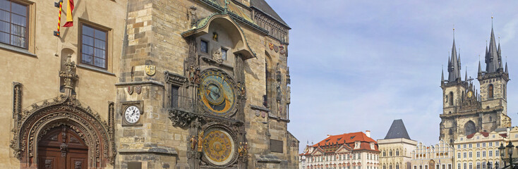 Panoramic view of Astronomical clock (Orloj), and Church of Our Lady before Tyn in Old Town Square , Prague, Czech Republic