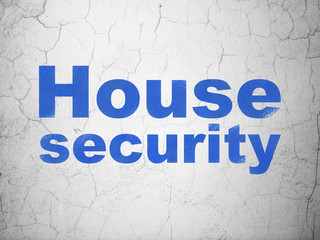 Privacy concept: Blue House Security on textured concrete wall background