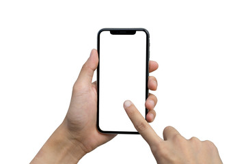 Man's hand shows mobile smartphone with white screen in vertical position isolated on white background Wall mural