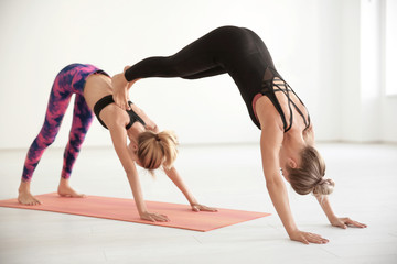 Two young women practicing yoga in light room