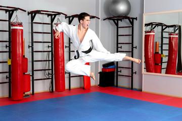 Young man practicing karate in dojo