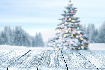 table background and winter landscape