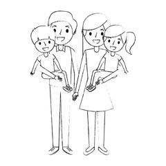 family dad with little son and mom holding daughter vector illustration sketch