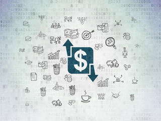 Business concept: Painted blue Finance icon on Digital Data Paper background with  Hand Drawn Business Icons