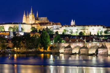Charles bridge and river Vltava in Prague, Czech Republic