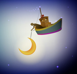 fairy boy holding the moon on the fairy boat, fairy dreamland sailor on the heavens, wonderland night worker,