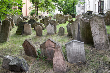 Foto op Textielframe Begraafplaats Old Jewish cemetery in Prague, Czech republic