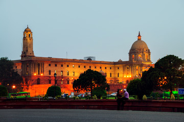 Deurstickers Delhi Illuminated Rashtrapati Bhavan an Parliament building in Delhi, India