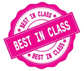 BEST IN CLASS text, written on pink round badge.
