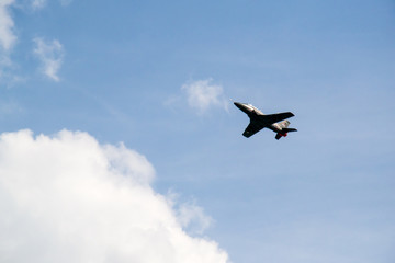 Novi Sad, Serbia September 22, 2013: International Airshow in Novi Sad. Plane is flying over Danube river in front of Petrovaradin fortress