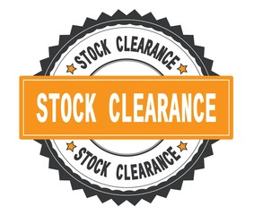STOCK CLEARANCE text on grey and orange round stamp, with zig za